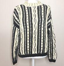 Vtg 90s Esprit Sweater Size L Large Beige Black Cable Knit Striped Retro Hip Hop