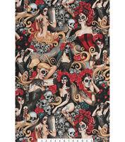 Alexander Henry Novelty Fabric Las Elegantes Halloween 1/2  YD Cotton Made Japan