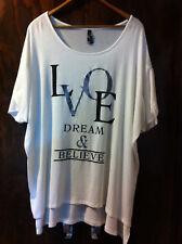 CROSSROADS WHITE LOVE DREAMS & BELIEVE HI LO TOP SIZE 22 BNWOT