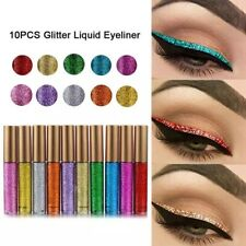 10Pcs/Set Glitter Eyeliner Waterproof Pigmented Gold Liquid Eye Liner Makeup
