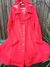 Xian Xian Lipstick Red Retro Vintage Hooded Cloak Cape Swing Coat Size 12-14