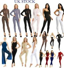 UK Sexy Women See Through Bodysuit Zippered Jumpsuits Smooth Lingerie Nightwear