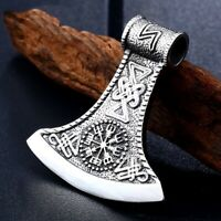 316l Stainless Steel Thor's Axe Head Pendant Viking Norse Man Necklace  Jewelry