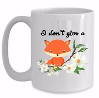 Funny Fox Mug Gift I Don't Give a Fox Coffee Cup Cute Almost Rude Sweary F Word