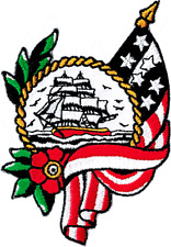 16197 Sailing Ship American Flag Birds Flowers Tattoo Embroidered Iron On Patch