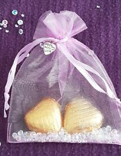 wedding party favour hen /baby shower gifts.Foiled Chocolate hearts organza bag