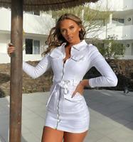 Women Denim Jeans V Neck Long Sleeve Bodycon Casual Club Party Short Mini Dress