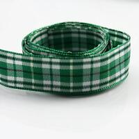 2 METRES GREEN & WHITE 16mm CHECKED  POLYESTER RIBBON  CARDMAKING  R5515