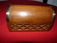Domed, Hinged, Brass Trimmed, Heavy Wood Spice Box
