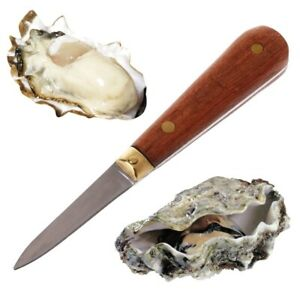Wooden Handle Utility Oyster Knife Sharp-edged Shucker Seafood Shell Opener Tool