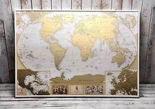 Mapamundi Para Rascar con Países Delineados Grande Póster Lujoso Rascador Dorado