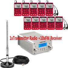 Nouveau 15 W sans fil PLL émetteur FM Radio Stéréo Broadcast +10 xPocket FM Récepteur