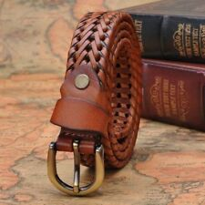 1X Unisex Braided Belt Men Women Woven Leather Formal Pin Buckle Waistband Strap