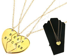 Modern Best Bitches Necklace 3 Parts Broken Heart Chain Necklace Gold Colour