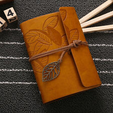 String Leaf Leather Notebook Travel Diary Paper Journal Sketchbook Vintage