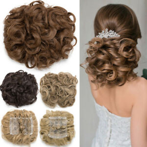 Comb Clip In Curly Hair Piece Chignon Updo Hairpiece Extension Hair Bun 90g Fh1