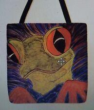 Frog BIG EYES Vivid colors Orig ARt  whimsical artist purse tote bag 16 x 16