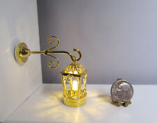 Dollhouse Miniature Battery Operated Brass Coach Wall Lamp
