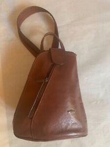 Florentine market tan leather small back pack or shoulder bag