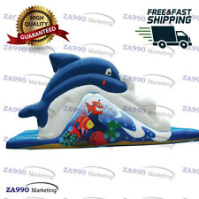 23x10ft Commercial Inflatable Dolphin Bounce Slide For Pool With Air Blower