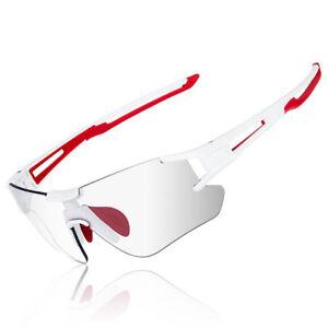 ROCKBROS Photochromic Rimless Sunglasses Eyewear UV400 Goggles White Red