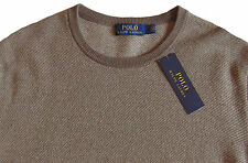 Men's POLO RALPH LAUREN Brown Tan Merino Wool Crew Neck Sweater Large L NWT $185