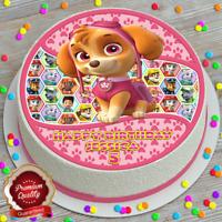 PAW PATROL SKYE HAPPY BIRTHDAY PERSONALISED 7.5 INCH EDIBLE CAKE TOPPER B-165G