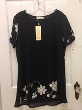 NWT Japanese Jie Ya Bai He Floral Embroidered Blouse SZ XXL Black Semi Sheer