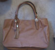 MISSIMO TOTE BAG/LARGE BAG  Brown Faux Leather Zippered Top NEW!