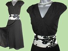 MONSOON Black White Wrap Style Cap Sleeve Casual Midi Dress UK12 EU40 Formal