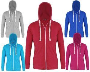 New Ladies Long Sleeves Plain Hoody Women Hooded Pocket Sweatshirt Top Zipper