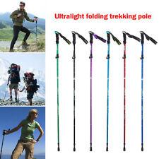 Folding Trekking Poles Adjustable Walking Stick 5-Section Aluminum Alpenstock UK