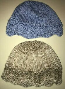 2 girls KNIT WINTER HATS 1 blue 1 soft tan one size fits most hand made NICE @@