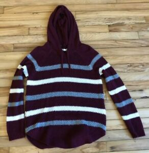 Women's Juniors CLOUD CHASER Red Gray White Stripe Casual Hoodie Sweater Size XL