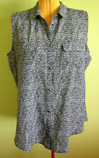 Ladies Black White Buttons Collar Sleeveless Shirt Blouse Top Millers Size 18