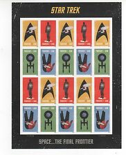 SPACE SHIPS US NEW 2016 STAR TREK SET OF 4 ON A 20 MINT NHVF FOREVER STAMP SHEET