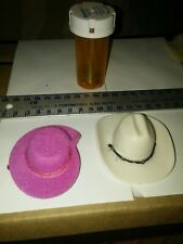 Barbie 2 Western cowboy hats plastic & cloth #1757 & #9932 orginal played with