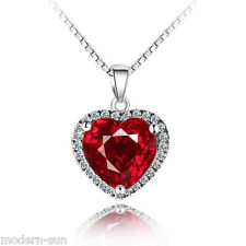 925 Sterling Silver Nature Ruby Synthetic Heart Love Necklaces Pendant P9037