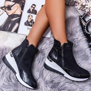 Womens Casual Outdoor Ankle Boots Wedge Low Heel Comfort Zip Up Shoes