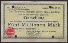 [12642] - NOTGELD POCKING, Bankhaus Heinrich Eckert, 5 Mio Mk, 10.08.1923. Kelle