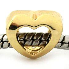 Open Center Heart Yellow Gold Plated Love Bride Charm for European Bead Bracelet