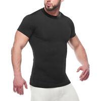 Mens Compression Shirt Short Sleeve Dri Fit Base Layer Gym Running Top Rashguard
