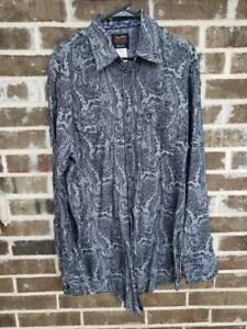 Wrangler George Strait Troubadour Mens Western Shirt Gray Paisley Snaps Tall XLT