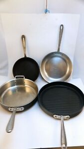 """Lot of 4 All-Clad Pans, Saute, Frying, Grill 12"""" 11"""" 10.5 """" 9"""""""