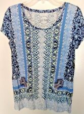 Lucky Brand linen blend multi-color geometric s/s top Size Small