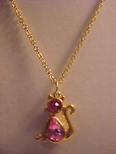 Pink Crystal Cat Pendant Necklace Gold Cat Charm Necklace Faceted Crystal 16""