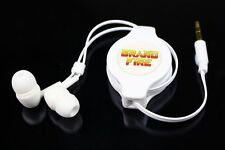 Retractable Earphones Headphones - PSP iPod iPhone iPad 3DS DSi Vita Kindle Whte