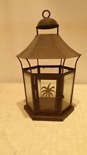 Metal and Glass Candle Lantern Palm Tree Black Candelaria Home