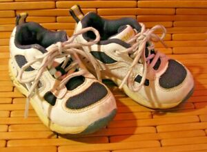 Stride Rite Baby Size 6W Jungle Gym Sneakers White w/ Blue Leather Upper