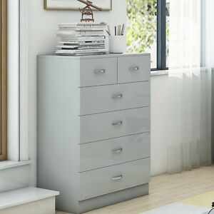 Modern Grey Gloss Tall 6 Drawer (4+2) Chest. Bedroom Furniture. Matt Grey Frame